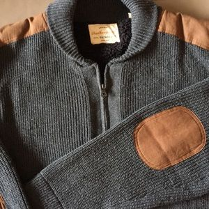 Heavy collared sweater with elbow patches